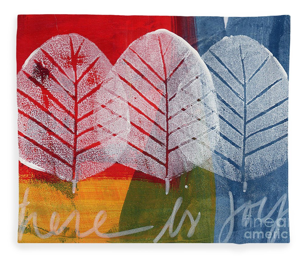 Abstract Fleece Blanket featuring the painting There Is Joy by Linda Woods
