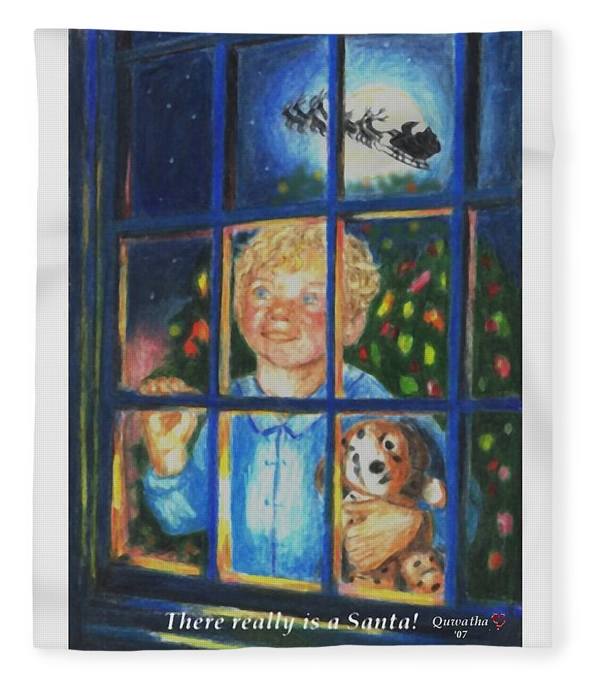Santa Fleece Blanket featuring the drawing There Really is a Santa by Quwatha Valentine