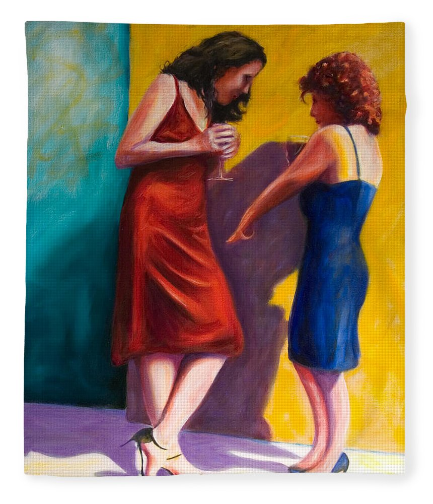 Figurative Fleece Blanket featuring the painting There by Shannon Grissom
