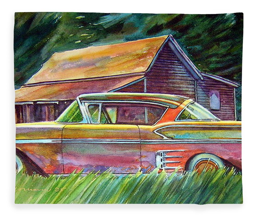 Rusty Car Chev Impala Fleece Blanket featuring the painting This Impala Doesn by Ron Morrison