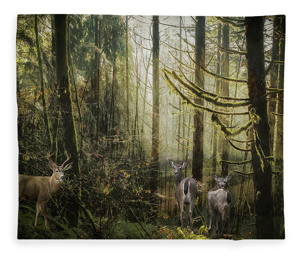 Buck Fleece Blanket featuring the mixed media This Is Our Home by Belinda Greb