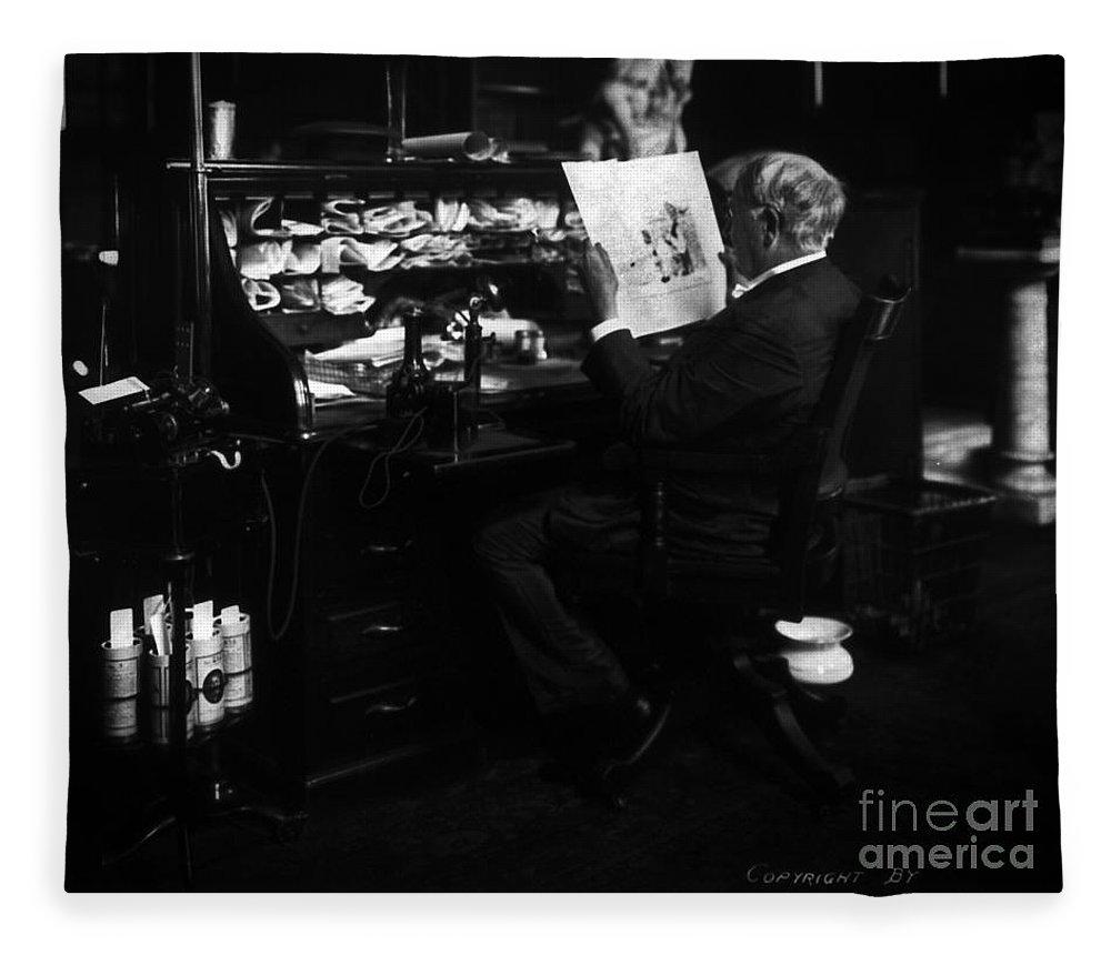 Thomas Edison Fleece Blanket featuring the photograph Thomas Edison Reading by Sad Hill - Bizarre Los Angeles Archive