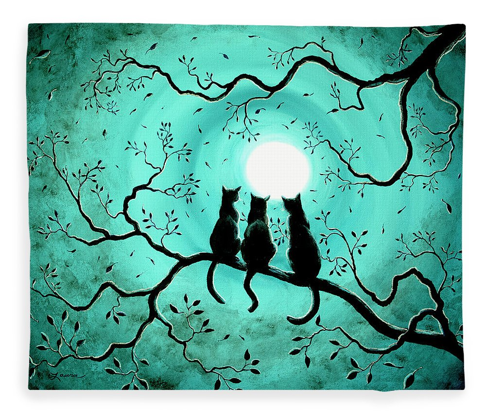 Black Fleece Blanket featuring the painting Three Black Cats Under A Full Moon by Laura Iverson