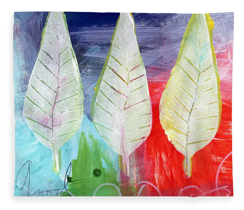 Abstract Fleece Blanket featuring the painting Three Leaves Of Good by Linda Woods