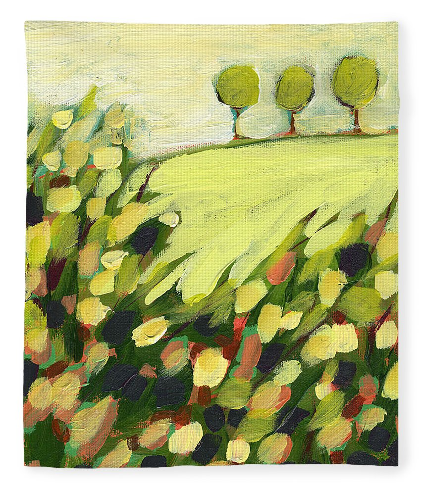 Landscape Fleece Blanket featuring the painting Three Trees on a Hill by Jennifer Lommers