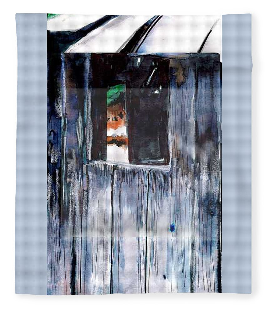 An Old Mysterious Barn With Deep Dark Shadows And Secrets. Rustic And Moody. Fleece Blanket featuring the drawing Thru the Barn Window by Seth Weaver