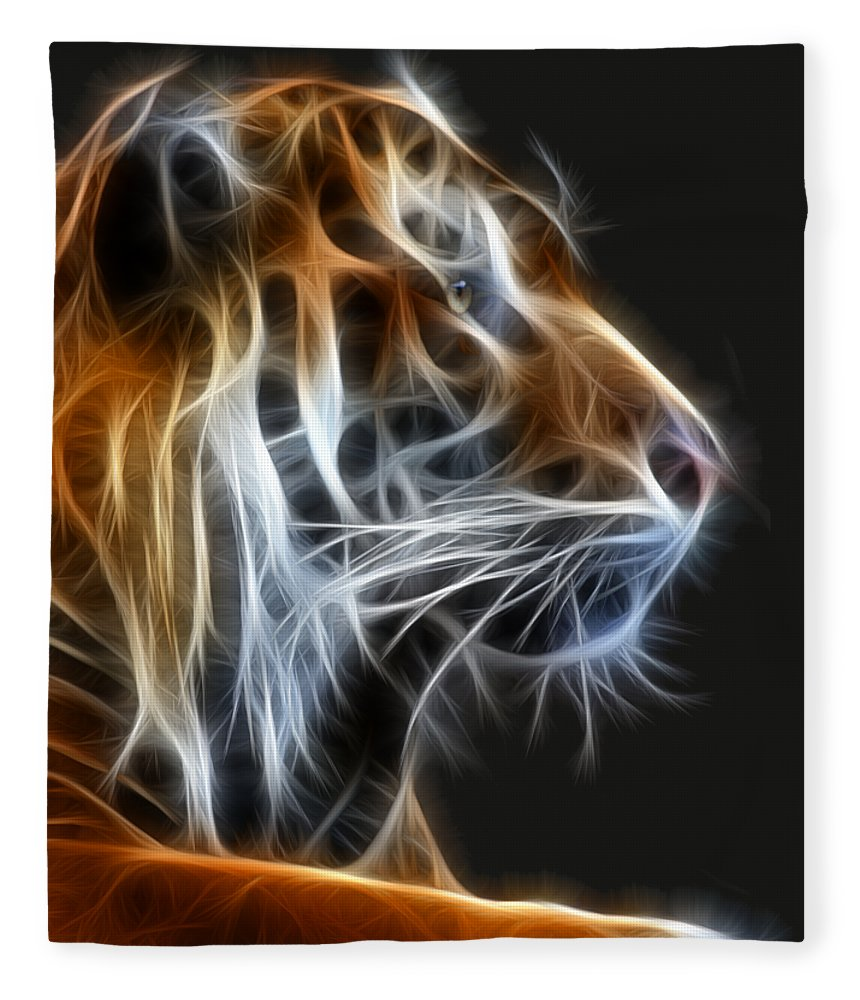 Tiger Fleece Blanket featuring the photograph Tiger Fractal 2 by Shane Bechler
