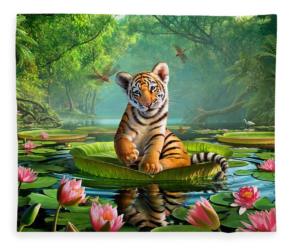 Tiger Fleece Blanket featuring the digital art Tiger Lily by Jerry LoFaro