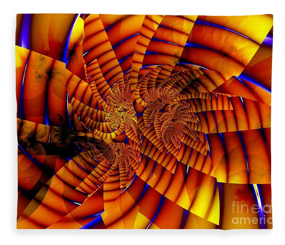Flower Fleece Blanket featuring the digital art Tiger Lily by Ron Bissett