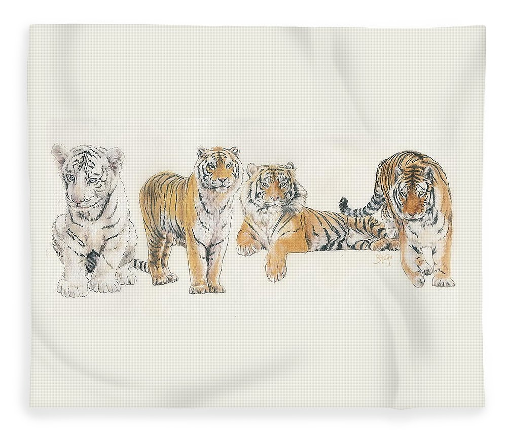 Tiger Fleece Blanket featuring the mixed media Tiger Wrap by Barbara Keith