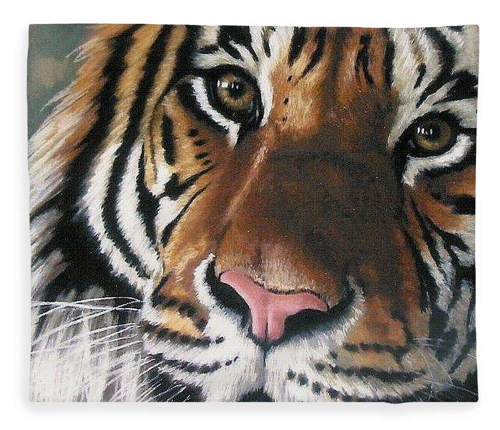 Tiger Fleece Blanket featuring the pastel Tigger by Barbara Keith