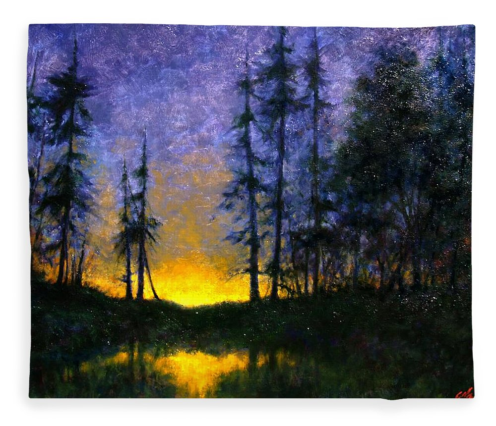 Landscape. Nocturn Fleece Blanket featuring the painting Timberline by Jim Gola
