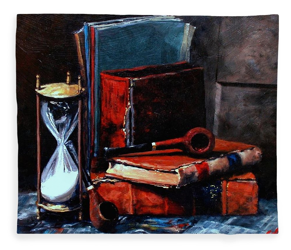 Still Life Painting Fleece Blanket featuring the painting Time and Old Friends by Jim Gola