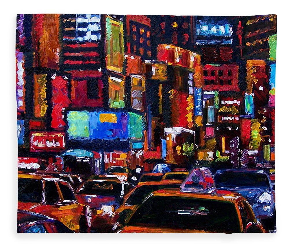 New York City Fleece Blanket featuring the painting Times square by Debra Hurd