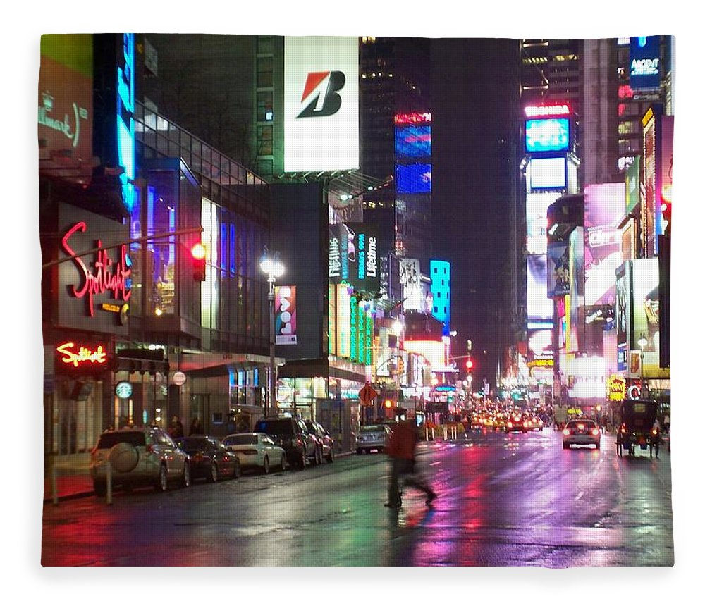 Times Square Fleece Blanket featuring the photograph Times Square in the rain 2 by Anita Burgermeister