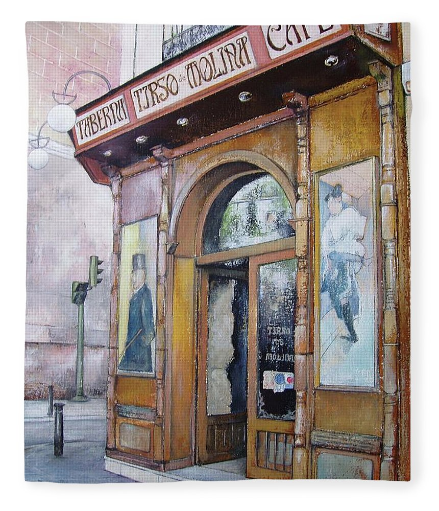 Tirso Fleece Blanket featuring the painting Tirso De Molina Old Tavern by Tomas Castano