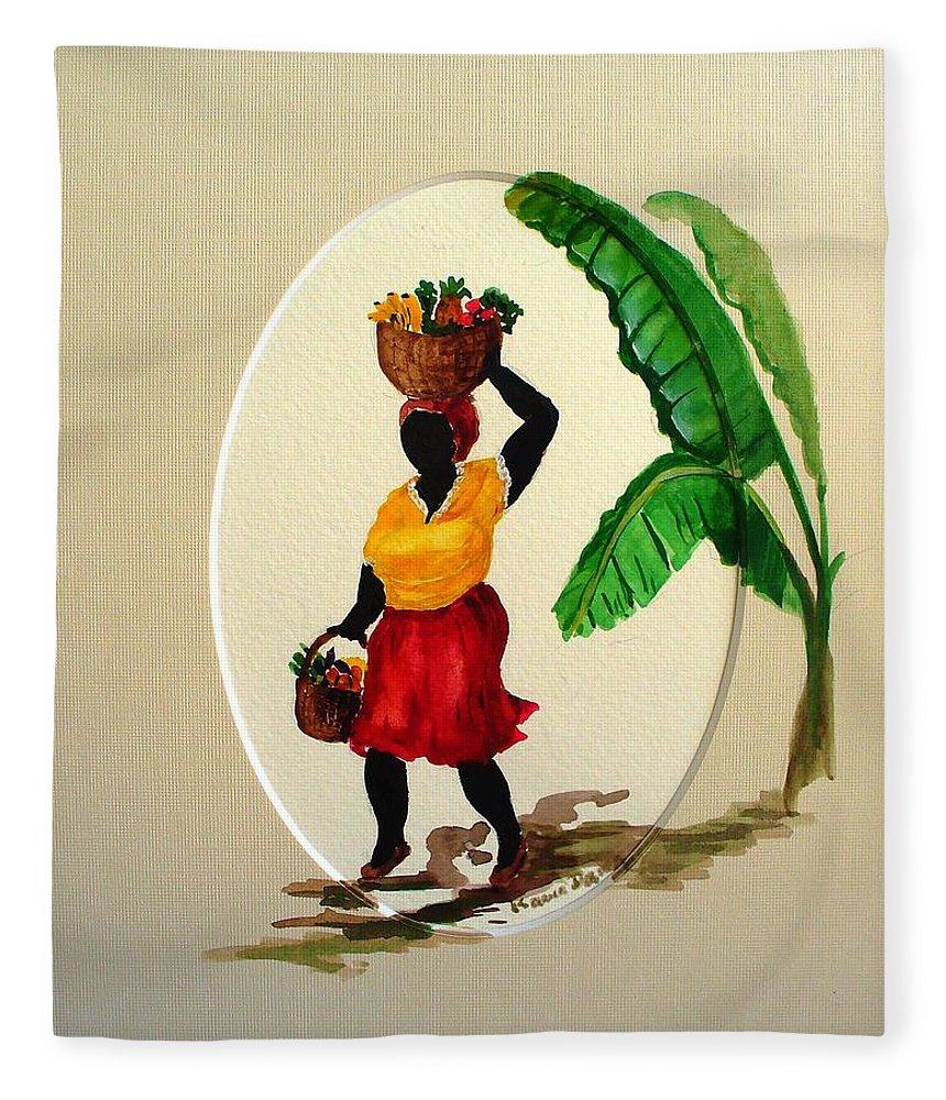 Caribbean Market Womanfruit & Veg Fleece Blanket featuring the painting To market by Karin Dawn Kelshall- Best