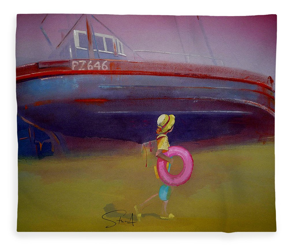 Penzance Fleece Blanket featuring the painting To The Lighthouse by Charles Stuart