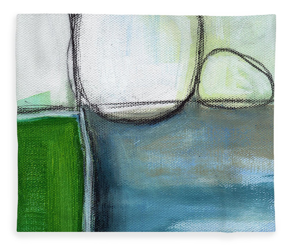 Abstract Fleece Blanket featuring the painting Together by Linda Woods