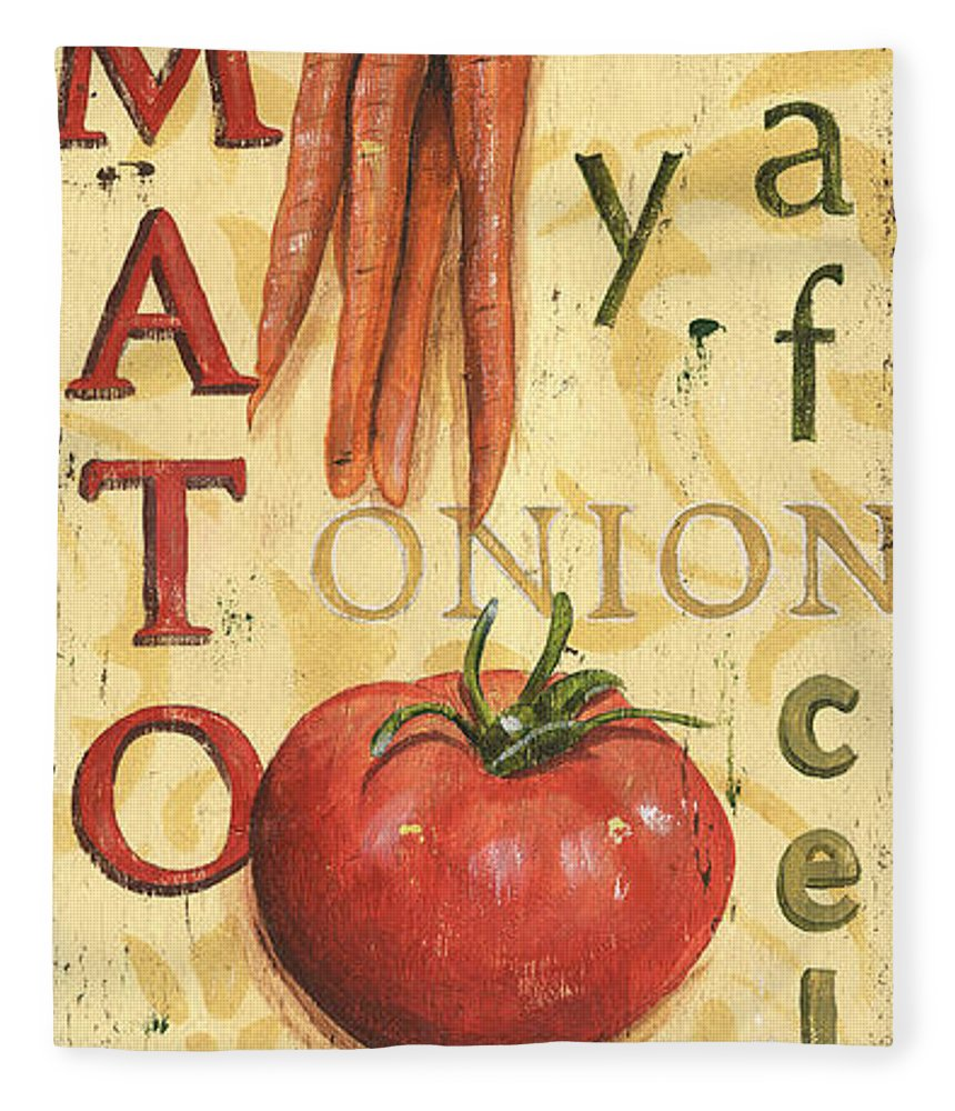 Kitchen Fleece Blanket featuring the painting Tomato Soup by Debbie DeWitt