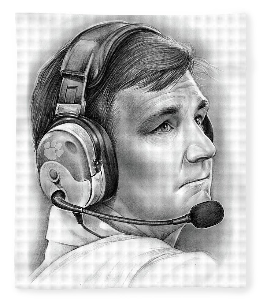 Clemson Fleece Blanket featuring the drawing Tommy Bowden by Greg Joens