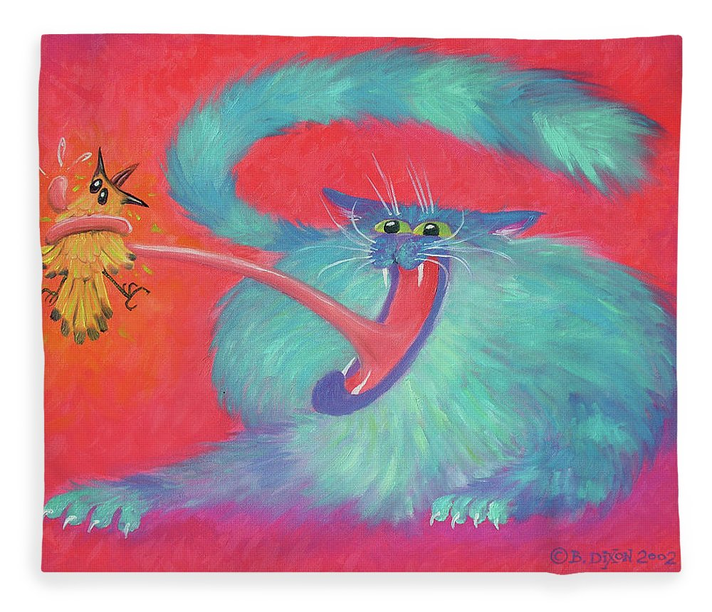 Cat Fleece Blanket featuring the painting Tongue-tied by Baron Dixon
