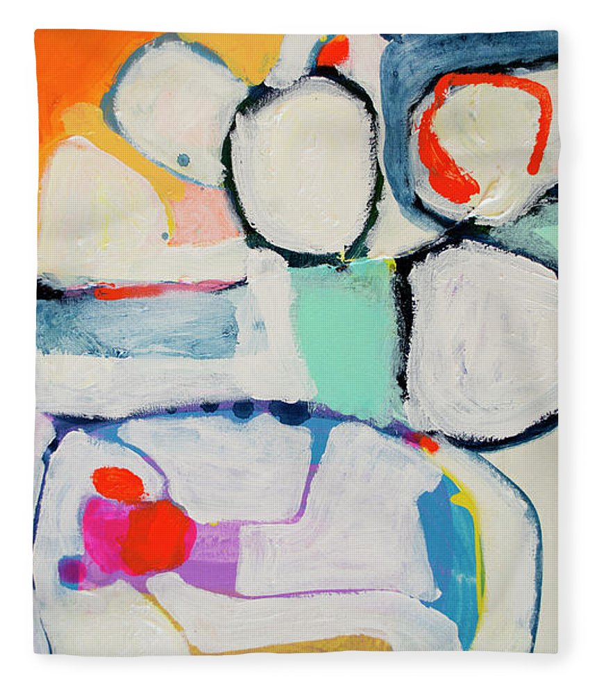 Abstract Fleece Blanket featuring the painting Tongue Tied by Claire Desjardins
