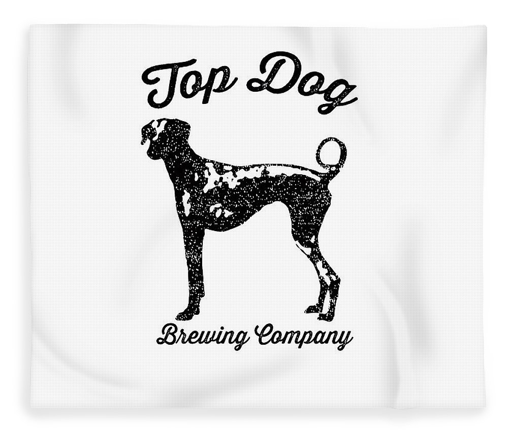Dog Fleece Blanket featuring the drawing Top Dog Brewing Company Tee by Edward Fielding