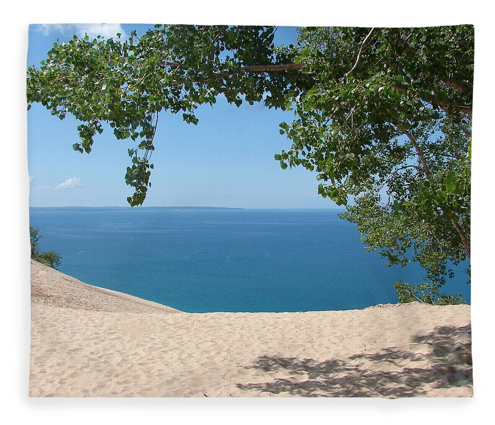 Sleeping Bear Dunes Fleece Blanket featuring the photograph Top Of The Dune At Sleeping Bear by Michelle Calkins