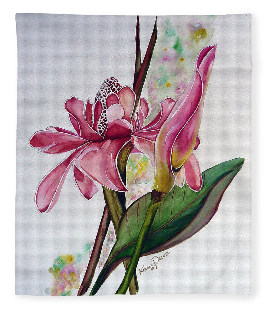Flower Painting Floral Painting Botanical Painting Flowering Ginger. Fleece Blanket featuring the painting Torch Ginger Lily by Karin Dawn Kelshall- Best