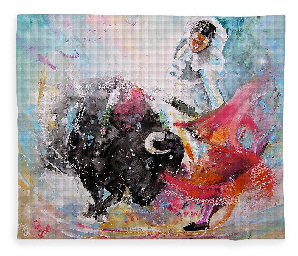 Animals Fleece Blanket featuring the painting Toro Tempest by Miki De Goodaboom
