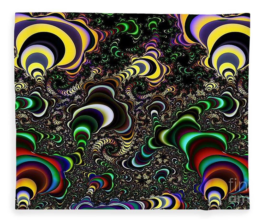 Torus Fleece Blanket featuring the digital art Torus Spirals by Ron Bissett