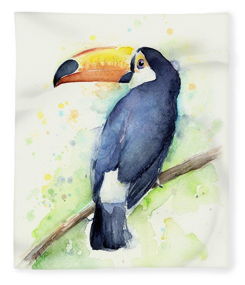 Watercolor Toucan Fleece Blanket featuring the painting Toucan Watercolor by Olga Shvartsur