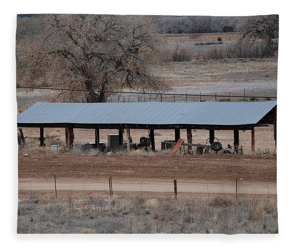 Architecture Fleece Blanket featuring the photograph Tractor Port On The Ranch by Rob Hans