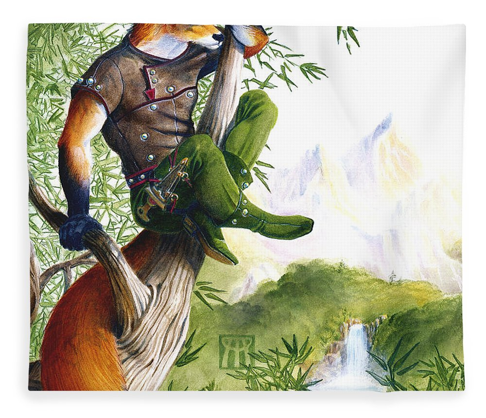 Fantasy Fleece Blanket featuring the painting Trail Blazing Fox by Melissa A Benson