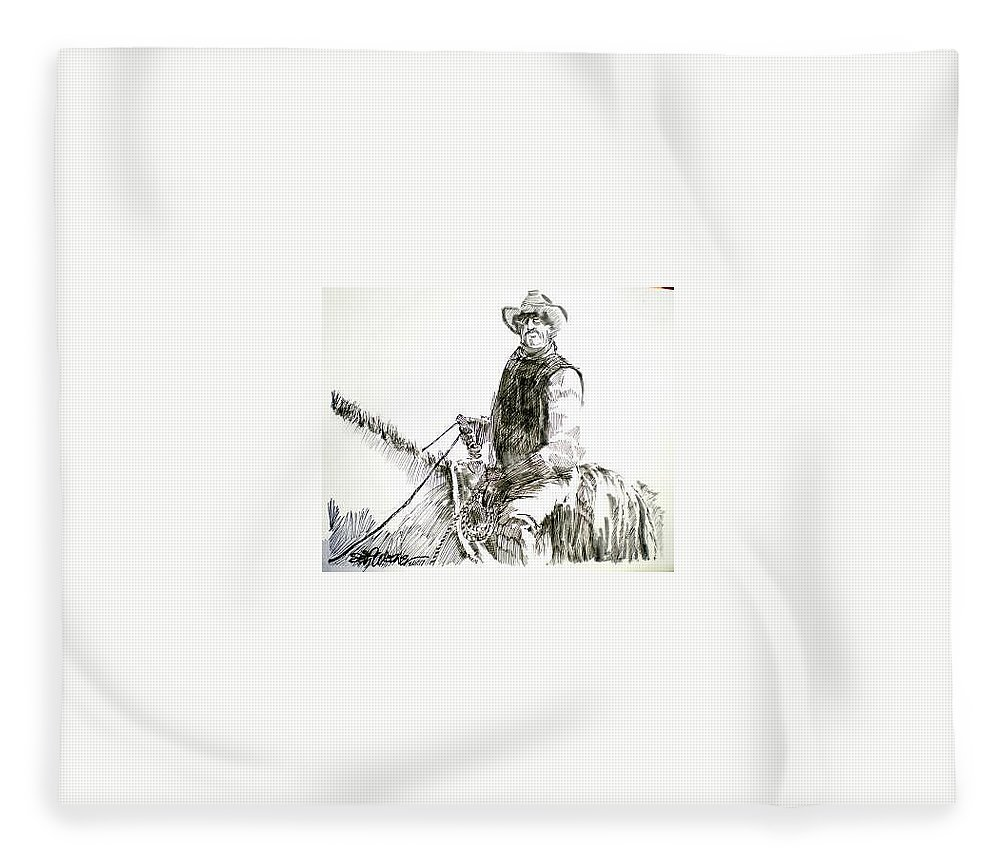 Trail Boss Fleece Blanket featuring the drawing Trail Boss by Seth Weaver