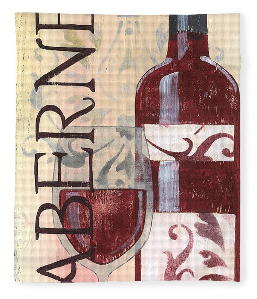 Red Wine Fleece Blanket featuring the painting Transitional Wine Cabernet by Debbie DeWitt