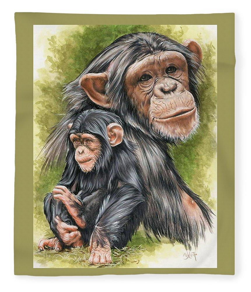Chimpanzee Fleece Blanket featuring the mixed media Treasure by Barbara Keith