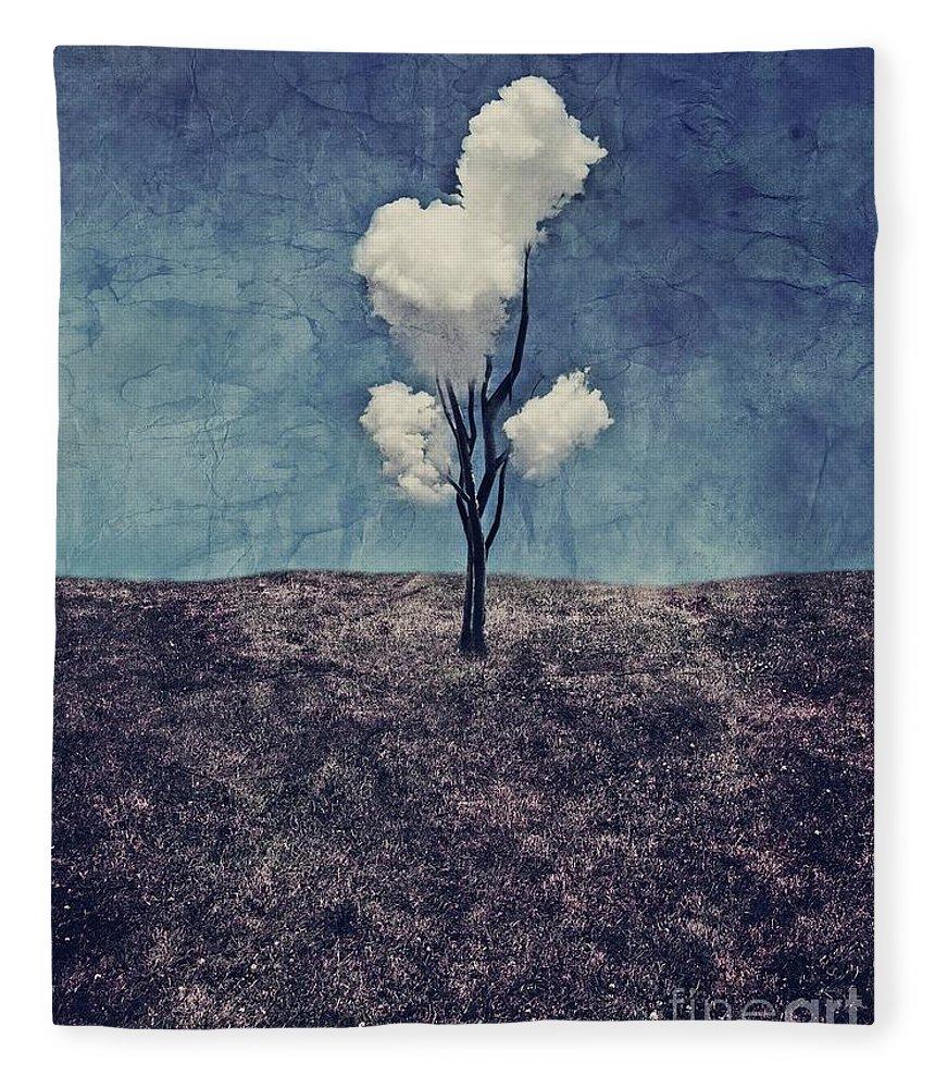 Tree Fleece Blanket featuring the digital art Tree Clouds 01d2 by Aimelle