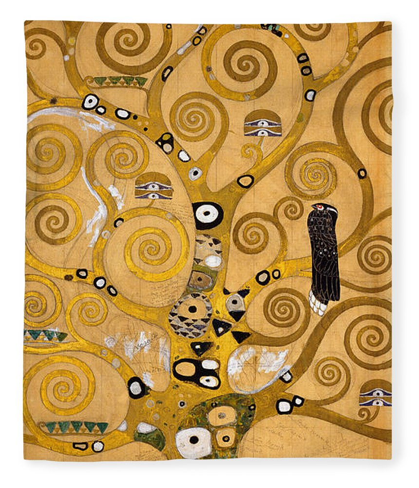 Klimt Fleece Blanket featuring the painting Tree Of Life by Gustav Klimt