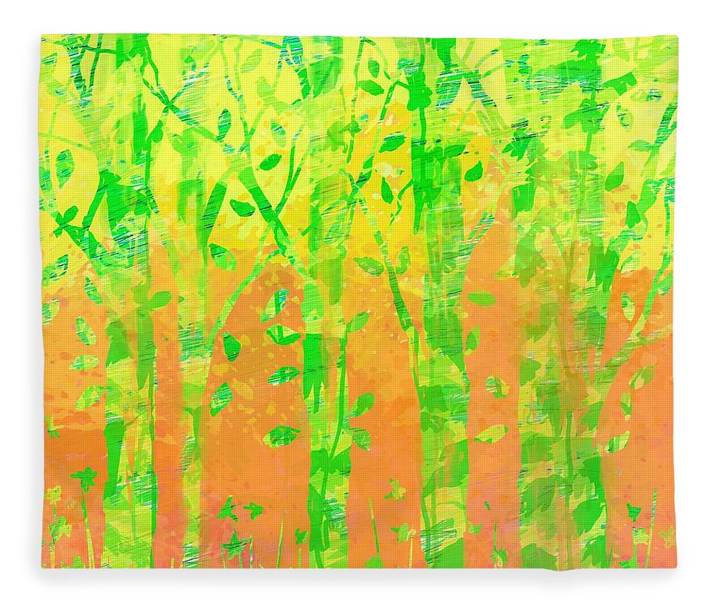 Abstract Fleece Blanket featuring the digital art Trees in the Grass by William Russell Nowicki