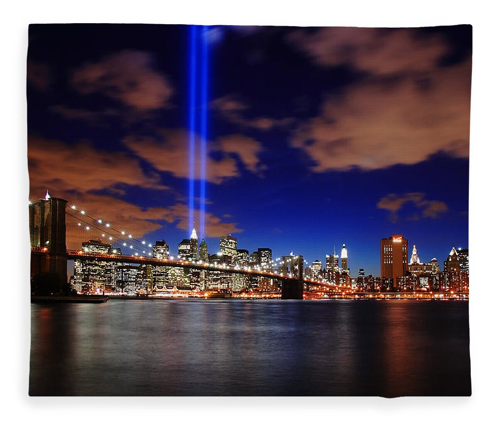 New York City Fleece Blanket featuring the photograph Tribute In Light by Rick Berk