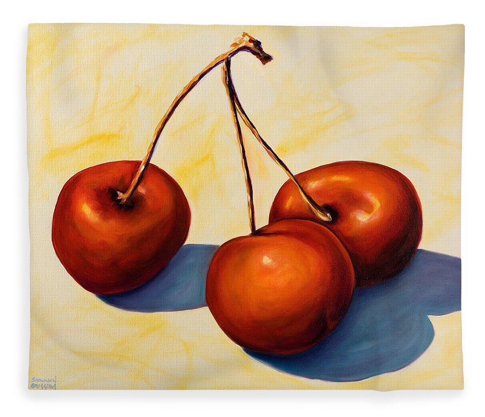 Cherries Fleece Blanket featuring the painting Trilogy by Shannon Grissom