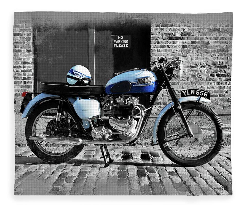 Triumph Bonneville Fleece Blanket featuring the photograph Triumph Bonneville T120 by Mark Rogan