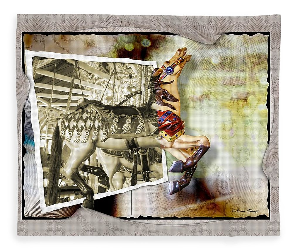Carousel Horses Fleece Blanket featuring the photograph Triumph by Susan Kinney