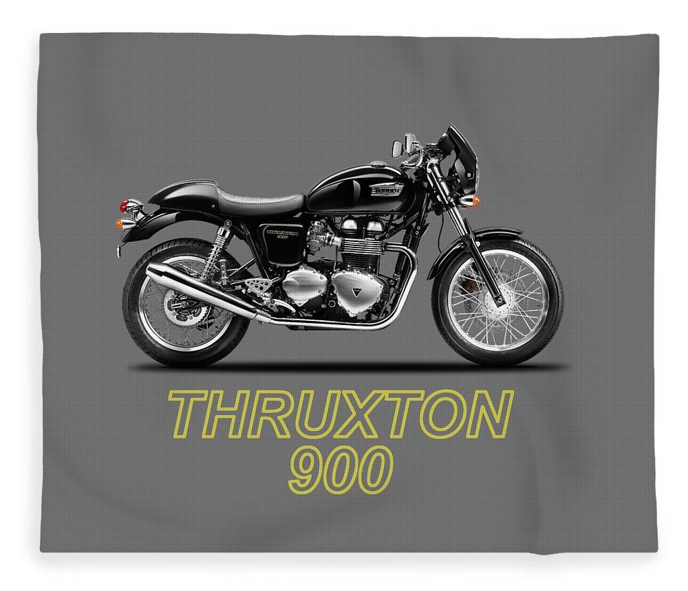 Triumph Thruxton 900 Fleece Blanket featuring the photograph Triumph Thruxton by Mark Rogan