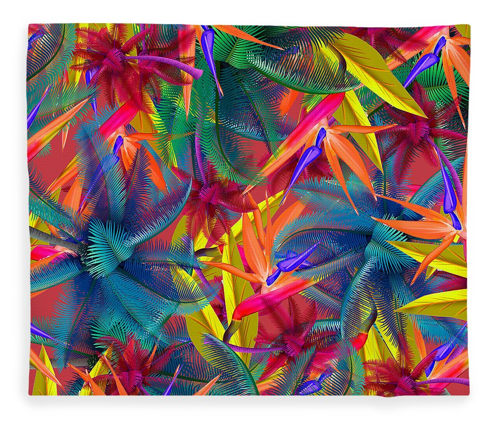 Cherry Fleece Blanket featuring the painting Tropical 7 by Mark Ashkenazi
