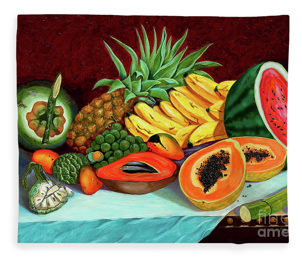 Coconut Fleece Blanket featuring the painting Tropical Fruits by Jose Manuel Abraham