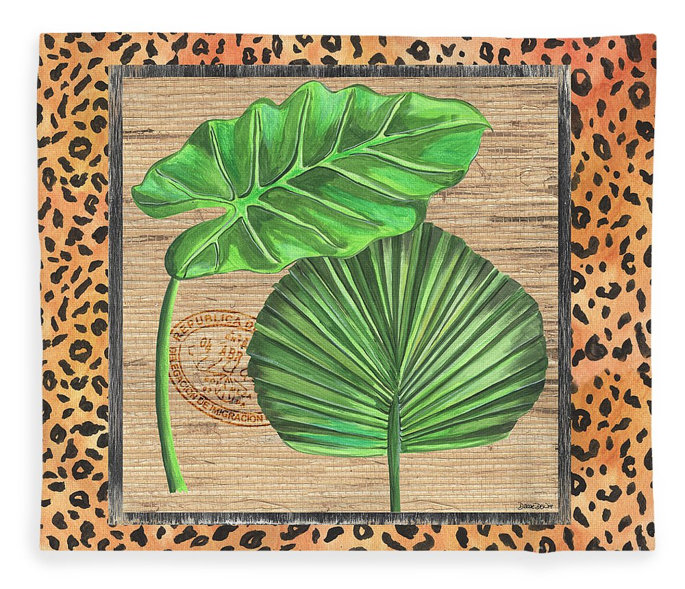 Palm Fleece Blanket featuring the painting Tropical Palms 1 by Debbie DeWitt