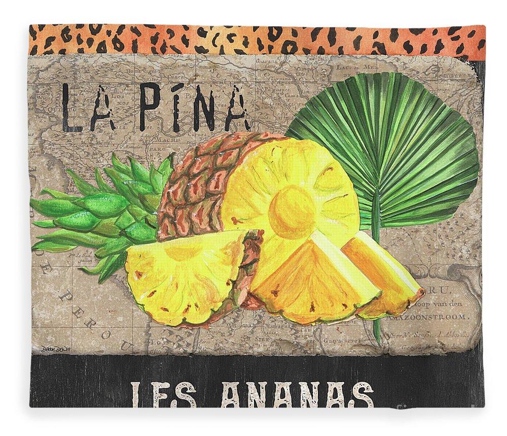 Pineapple Fleece Blanket featuring the painting Tropical Palms 5 by Debbie DeWitt